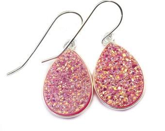 Pink Drusy Earrings Druzy Large Teardrop Shape Sterling Silver French Ear Wires Bezel Set Simple Drops Fushia Pink Daily Sparkley Drops