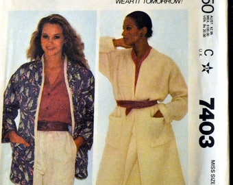 Misses' Coat or Jacket McCall's 7403   Vintage 80's Sewing Pattern  Size Small Bust 32-34 inches Complete Uncut FF