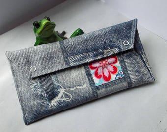 "Wallet, travel companion ""Denim"" blue, red flower, faux leather"