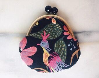 Coin Purse - Cotton Linen Canvas - Black Floral