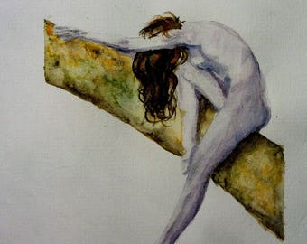 watercolor girl on a branch