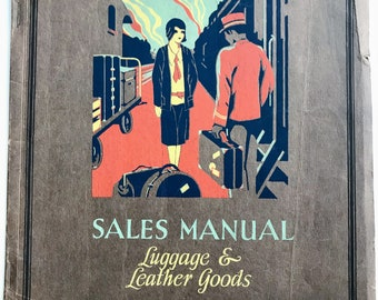 1920s Montgomery Ward Luggage and Leather Goods Sales Manual, Department Store, Salesman, Reference, Guide, Historical, Art Deco, Jazz Age