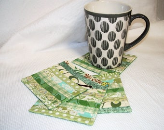 Cool Green Fabric Coasters, Set of 4, Quilted, Reversible, Mug Rug