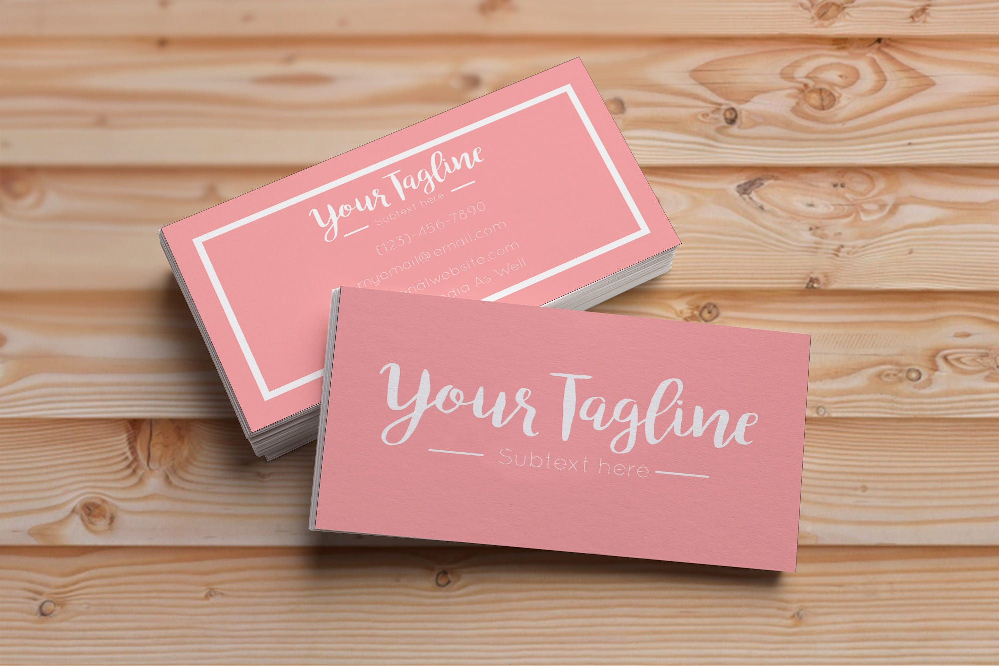 Modern boutique business cards coral business cards