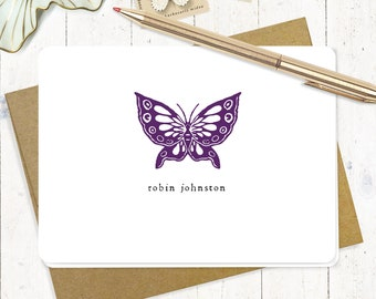 personalized stationery set - BUTTERFLY - set of 8 folded note cards - stationery - stationary - modern cards