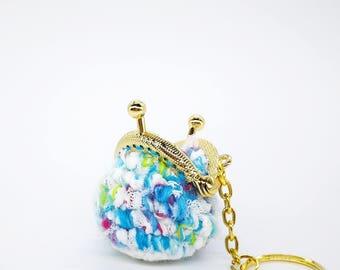 Pastel Fantasy Metal Kiss Lock Crochet Coin Purse Key Chain,ring,accessories holder,