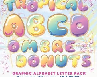 Tropical Ombre Donut Graphic Alphabet Pack - 104 Hi-Res 300 DPI Letters
