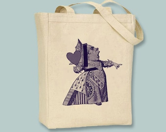 Original Alice in Wonderland Illustration the Queen of Hearts on Canvas Tote  - Selection of sizes and ANY IMAGE COLOR available
