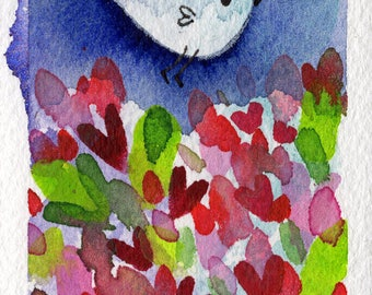 Soft Landing ACEO original painting small art watercolor bird