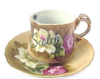 Scotch Altered Vintage Demitasse Teacup