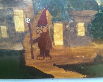 Woodland Wizard - Alf added to thrift store painting - original altered/piggyback art