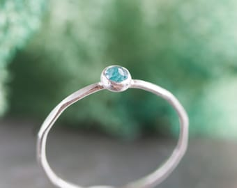 Apatite - skinny stackable ring with rose cut sky blue Apatite gemstone, sterling silver, 9k gold