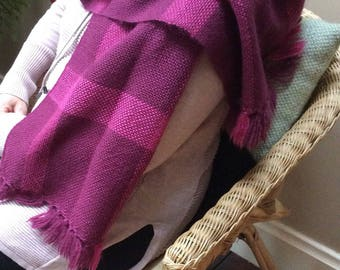 Wool Scarf, Handwoven Wrap, Handwoven Scarf, Handwoven Shawl, Pink Shawl, Plum Shawl, Checked Scarf, Pure Wool Scarf
