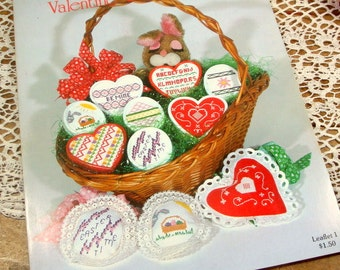 Counted Cross Stitch Patterns, Valentine and Eastertime, Linda Dennis, Hearts, Easter Eggs, Mini Pillows, Plastic Shape Inserts  (361-15)