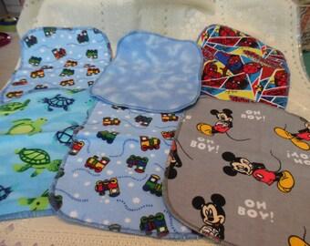 6 DOUBLE  Flannel Wipes,  Baby Wipes , Nursery , Flannel ,