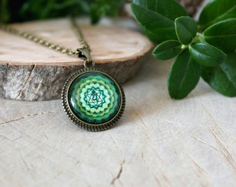 Green Anahata Chakra Pendant | Hindu Jewelry | Antique Bronze Pendant | Yoga Pendant | Handmade Jewelry | Spiritual | Customized Jewelry |