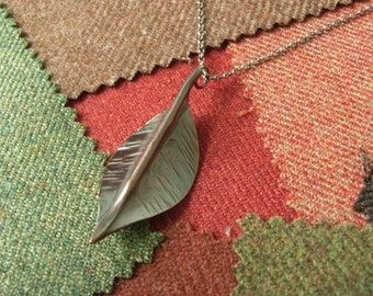 "Autumn ""Ash"" Leaf Copper Pendant with Silver Chain. Fold-formed Copper."