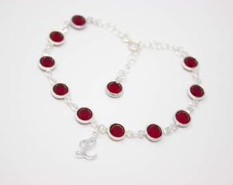 July Birthstone Bracelet, Ruby Red Crystal Bracelet, Choose your Birthstone Color and Initial