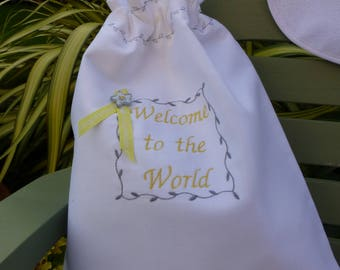 Beautiful hand crafted, embroidered new baby clothes and accessories gift bag, baby shower,