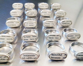 Italian Dictionary Sterling Silver Rings - various sizes