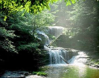 Waterfall Picture,Green Wall Art Waterfall Photograph,Olive Green,Summer Waterfall Art Photo,Waterfall Photograph,Ithaca NY,Buttermilk Falls