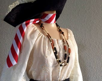 Large Adult Women's Pirate Halloween Costume - Black and White - Large