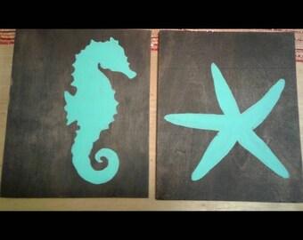Seahorse & Starfish Set Wall Decor