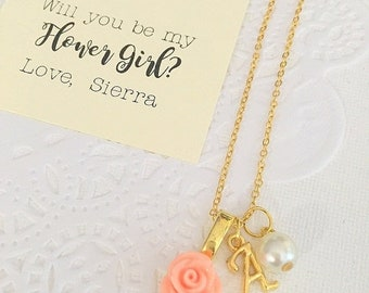 SPRING SALE Gold plated, Flower girl necklace, rose necklace, flowergirl, childrens jewelry, personalized. Comes with free card and  ORGANZA