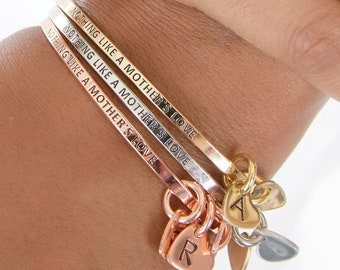 Mother's Heart Bangle with Personalized Initial Charms | Dainty Mom Bangle | Quote Stacking Bangles | Gift for Her | Gift Under 15 | Mother