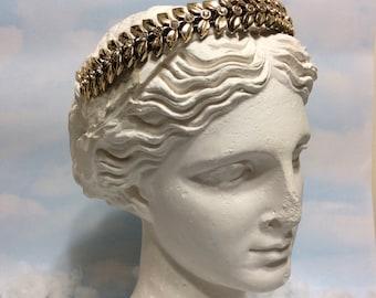 Gold Art Deco leaf, leaf Crown headband, gold crown, adult headband woman, art deco headband, Art Deco bridal headpiece, gold leaf headpiece