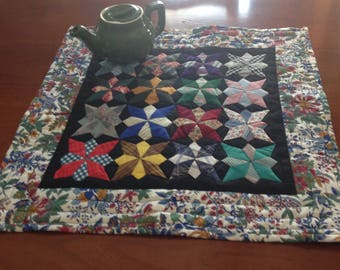 mini quilt or table topper, handmade stars
