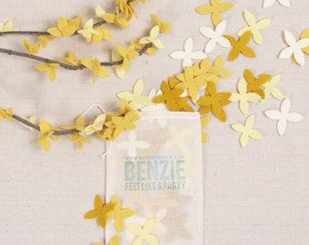 Forsythia // Felt-Fetti by Benzie // Flower Die Cuts, Spring Petals, Flower Garland, Felt Flower Confetti, Spring Garland, DIY Crafting