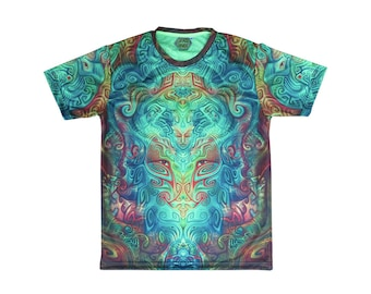 UV Sublime Psychedelic T-shirt 'Ancestral Ornament'. Sublimation print. Trippy T-shirt, UV active, trancewear, festival wear, visionary art