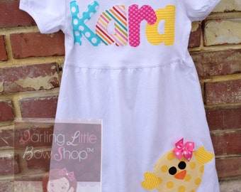 Easter Dress for Girls sizes 12 month to 12 - Sunshiney Day -- yellow chick and name in bright, colorful fabrics - yellow, hot pink, aqua