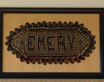 Crocheted name doilies