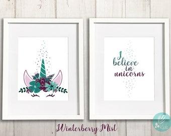 I Believe in Unicorns, Print Set of 2, Large Prints, Unicorn Nursery Print, Unicorn Room Decor, Unicorn Bedroom Decor, Girls Room Decor