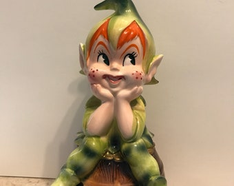 Vintage ceramic Elf Penny Bank// Elf Collectibles