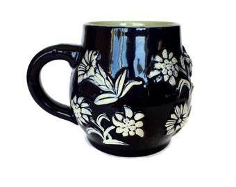 West German Pottery Stein, German Tankard, Dark Blue, White Flowers, 1427