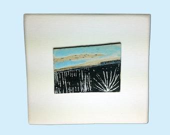 Dark fields - ceramic tablet landscape drawing