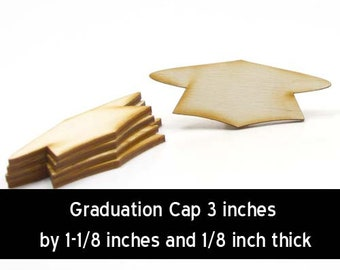 Unfinished Wood Graducation Cap - 3 inches wide by 1-1/8 inches and 1/8 inch thick wooden shape (GRAD03)