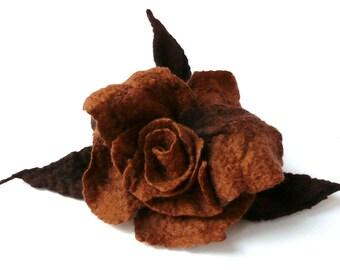 Brown flower brooch felt brooch felted brooch roses flower brooches felt brooches brown brooch