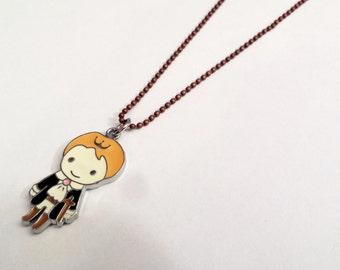 Cute little prince enamel charm necklace