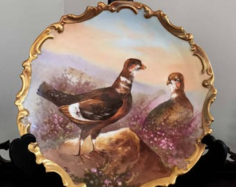 Hand Painted L.R.L. Limoges France Wild Pheasant Charger signed Dubois French Porcelain Scalloped Gilt Reticulated Rim