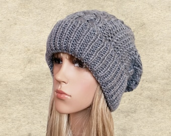 Winter slouchy hat, Knitted winter hat, Wool slouchy beanie, Gray winter benanie, Wool slouch hat, Womens knit beanie, Slouch beanie warm