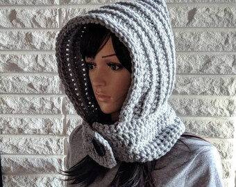 Women's gray scoodie, chunky gray scood, women's hooded scarf, women's accessories, gifts for her, fall, winter and spring fashion