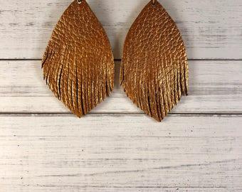 Leather Fringes Earrings/ Hand-cut Leather Fringes/Hand-painted Earrings/ Large Earrings/ Lightweight Earrings
