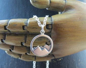 Sterling Silver mountain range necklace, mountain necklace, mountain range charm, mountains, nature necklace, outdoor jewelry