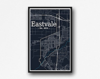 Eastvale, California Map Wall Art - Digital Download