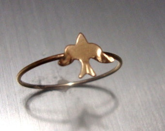 Ring Swallow or Sea Bird - Summer Day at the Beach - READY to SHIP Size 4.5  UK I - Thin band a thread of 14k gold filled Eco friendly