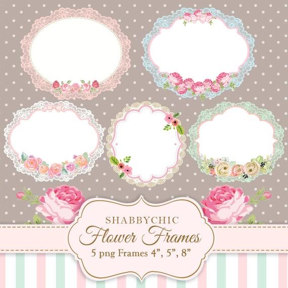 Shabbychic Flower Frames PNG Flowers Label Banner Frame Banners Labels Instant Lace From TiffArtwork On Etsy Studio